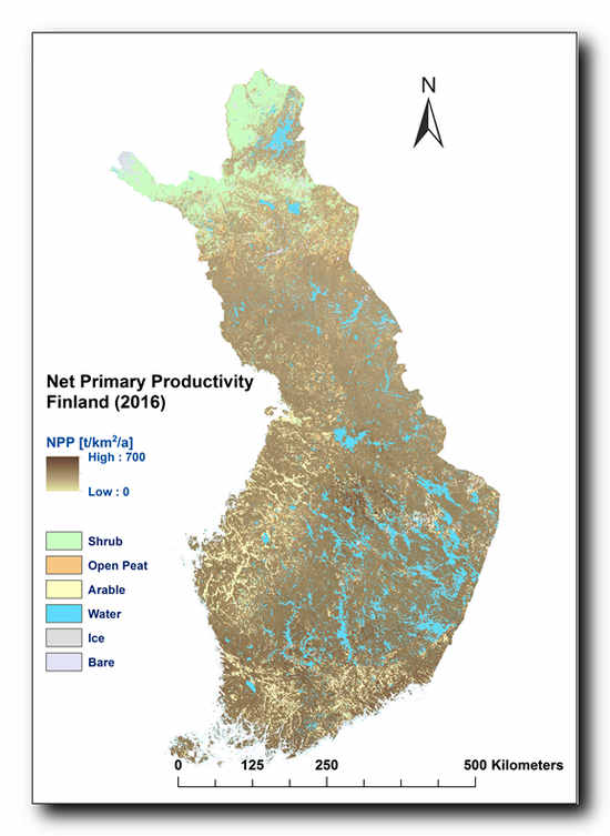 Net Primary Production estimate of forest from the previous EU project North State. ©VTT, University of Helsinki